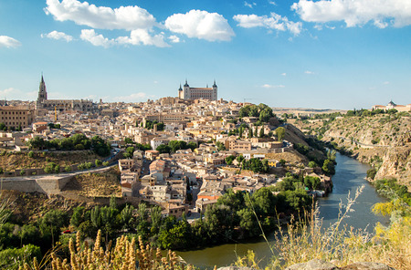 Toledo, Castilla-La Mancha, Spain. Old medieval town city skyline. Cityscape at the Alcazar and Cathedral.