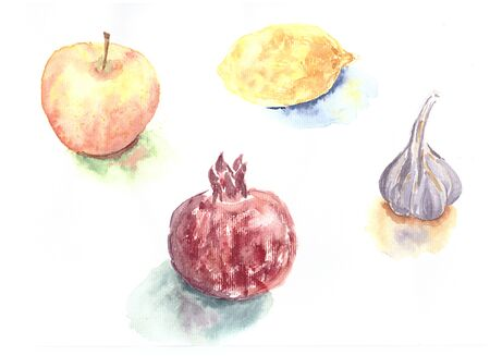 Watercolor hand drawn sketch illustration of fruits and vegetable: apple, lemon, pomegranate and garlic.