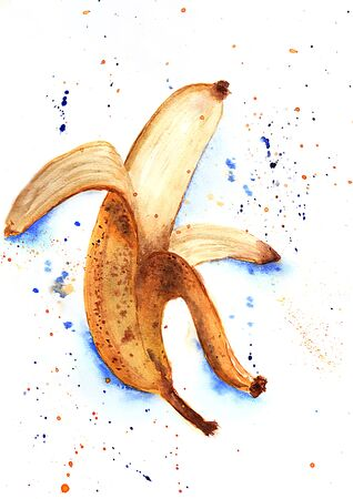Watercolor hand drawn sketch illustration of ripe banana with blue and yellow spray on white background Reklamní fotografie