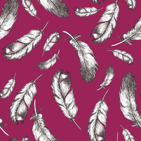 white and black sketch illustration of bird feathers isolated on trendy vivasious color background. Seamless pattern