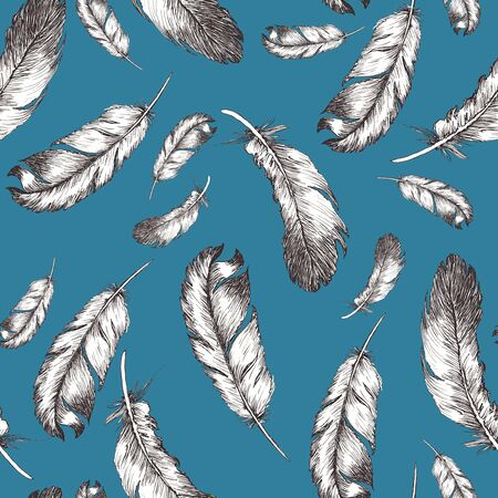 white and black sketch illustration of bird feathers isolated on trendy barrier reef color background. Seamless pattern