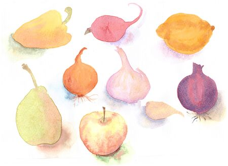 Watercolor hand drawn sketch illustration of fruits and vegetables on white background Stock Photo