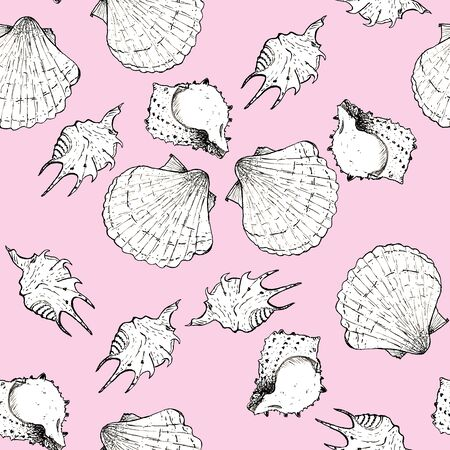White and black sketch illustration of seashells on trendy Little Piglet color Panton 2019 background. Seamless pattern