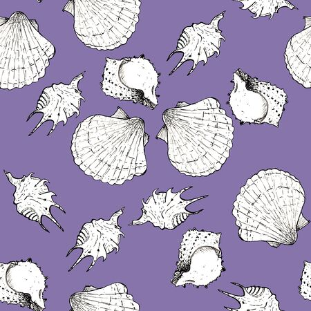 White and black sketch illustration of seashells on violet color background. Seamless pattern