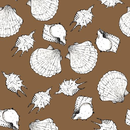White and black sketch illustration of seashells on beige background. Seamless pattern Imagens