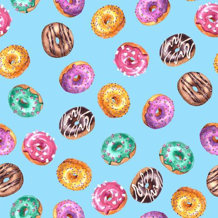 Set of watercolor hand drawn sketch illustration of colorful glazed donuts isolated on blue background. Seamless pattern