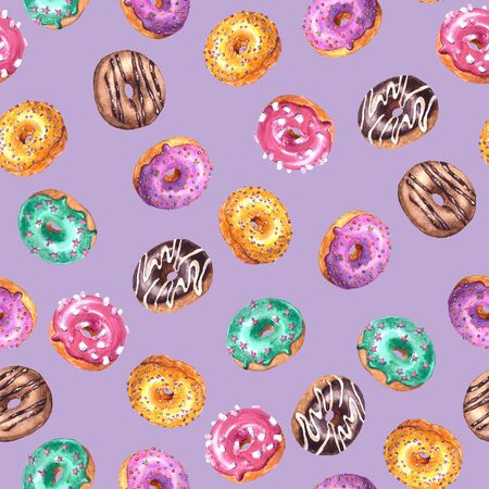 Set of watercolor hand drawn sketch illustration of colorful glazed donuts isolated on violet background. Seamless pattern