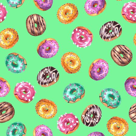 Set of watercolor hand drawn sketch illustration of colorful glazed donuts isolated on green background. Seamless pattern