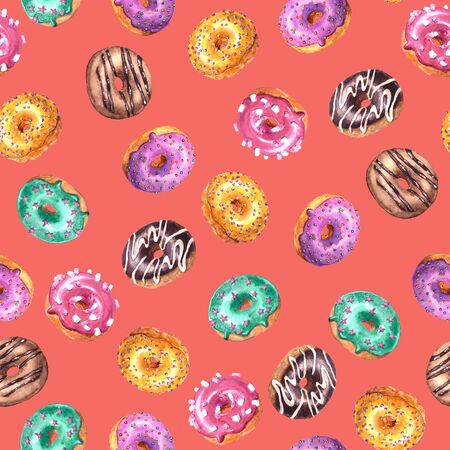 Set of watercolor hand drawn sketch illustration of colorful glazed donuts isolated on coral color background. Seamless pattern Imagens
