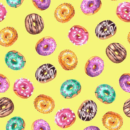 Set of watercolor hand drawn sketch illustration of colorful glazed donuts isolated on yellow background. Seamless pattern