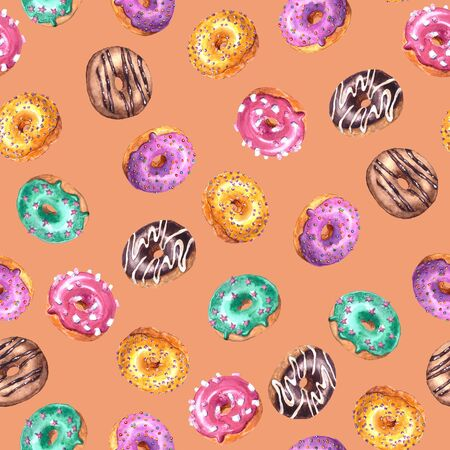 Set of watercolor hand drawn sketch illustration of colorful glazed donuts isolated on peach pink color  background. Seamless pattern Imagens