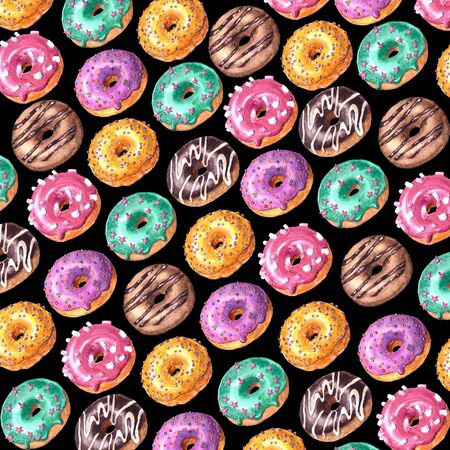 Watercolor hand drawn sketch illustration of colorful glazed donuts isolated on black background