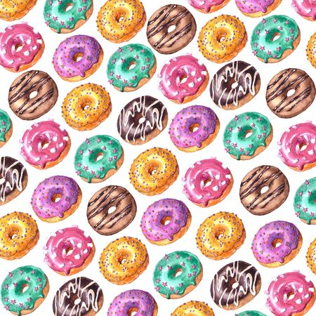 Watercolor hand drawn sketch illustration of colorful glazed donuts isolated on white background