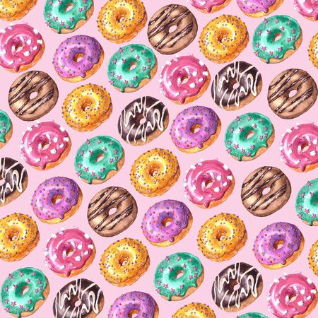 Watercolor hand drawn sketch illustration of colorful glazed donuts isolated on pink background
