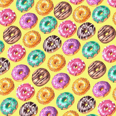 Watercolor hand drawn sketch illustration of colorful glazed donuts isolated on yellow background
