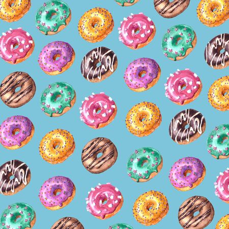Watercolor hand drawn sketch illustration of colorful glazed donuts isolated on blue background