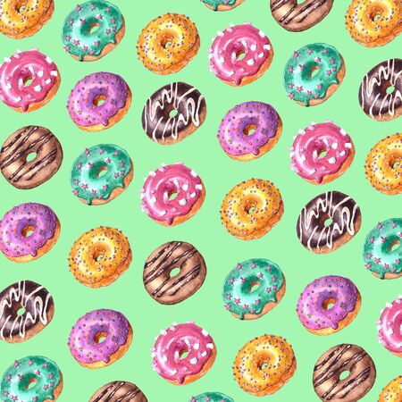 Watercolor hand drawn sketch illustration of colorful glazed donuts isolated on green background Imagens