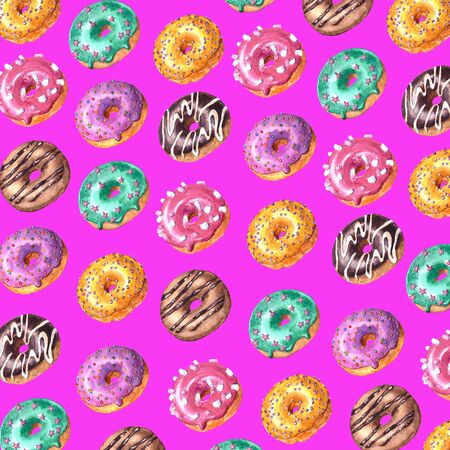 Watercolor hand drawn sketch illustration of colorful glazed donuts isolated on violet background Imagens