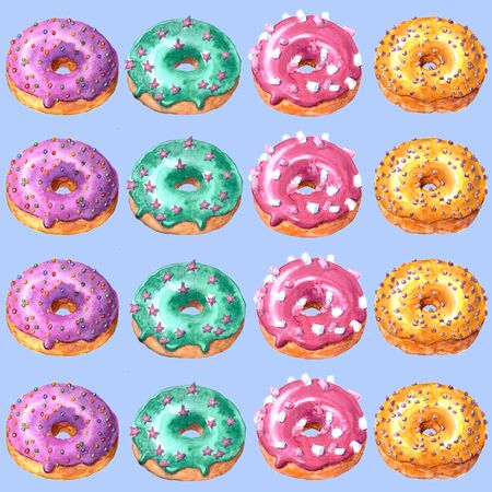 Set of watercolor hand drawn sketch illustration of colorful glazed donuts isolated on white background