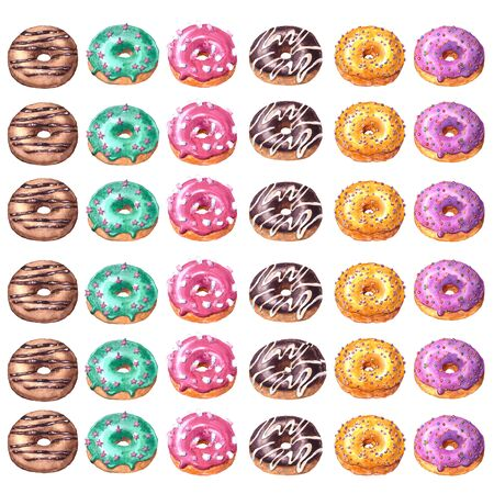 Set of watercolor hand drawn sketch illustration of colorful glazed donuts isolated on white background. Imagens