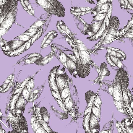 white and black sketch illustration of bird feathers isolated on violet background. Seamless pattern