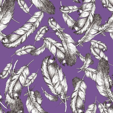 white and black sketch illustration of bird feathers isolated on chive blossom color background. Seamless pattern