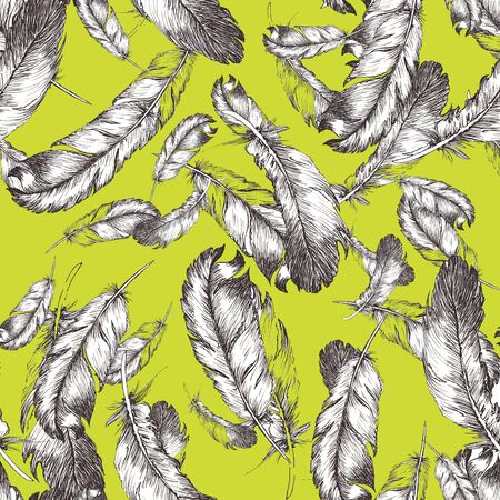 white and black sketch illustration of bird feathers on trendy sulfur spring color background. Seamless pattern