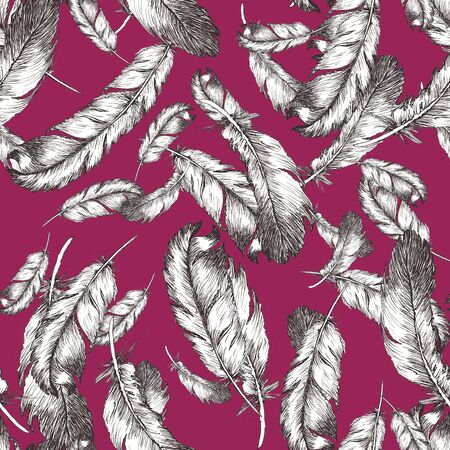 white and black sketch illustration of bird feathers on trendy vivasious color background. Seamless pattern