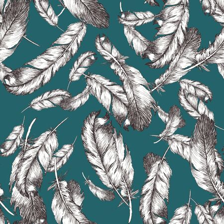 white and black sketch illustration of bird feathers on trendy deep lake color background. Seamless pattern