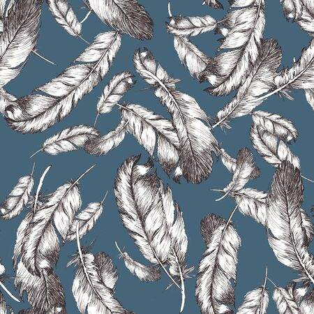 white and black sketch illustration of bird feathers on trendy bluestone color background 2020. Seamless pattern Imagens