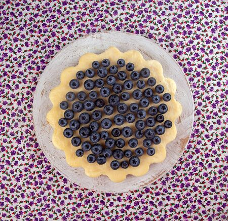 Homemade cheesecake decorated with blueberry over on fabric. Top view