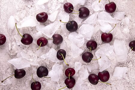 Fresh sweet cherries on chipped ice