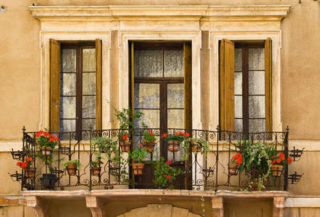 Windows in Soave, Italy