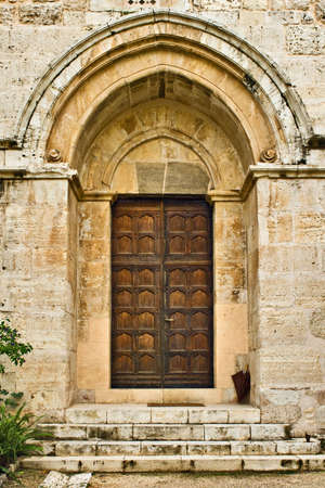 Crusader's church door, Abu-Ghosh, Israel Stock Photo - 3816970