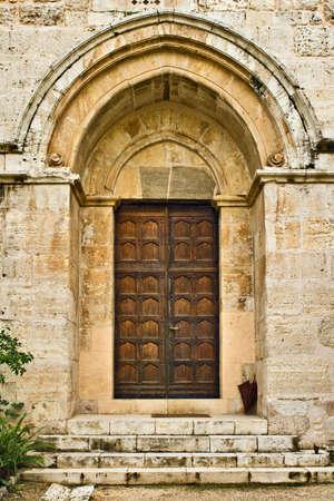 Crusader's church door, Abu-Ghosh, Israel Stock Photo - 3816970