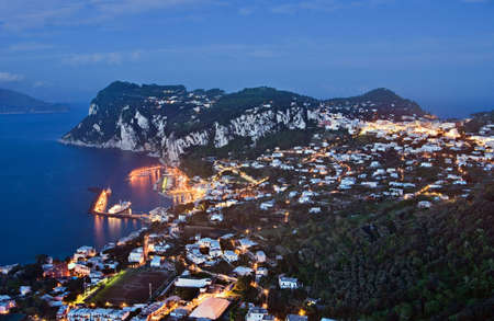 Night view of Capri, Italy