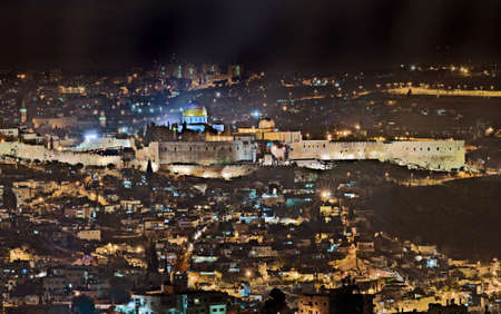 Night view over the old city of Jerusalem, Israel Stock Photo