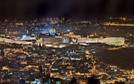israel jerusalem: Night view over the old city of Jerusalem, Israel Stock Photo