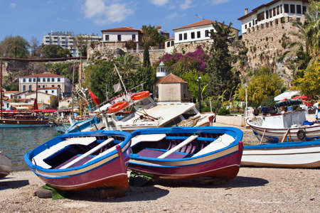 Colorful boats on the bank of Antalyas marina, Turkey Stock Photo