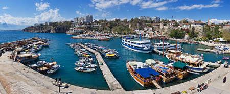 Panoramic view of the marina in Antalya, Turkey Stock Photo