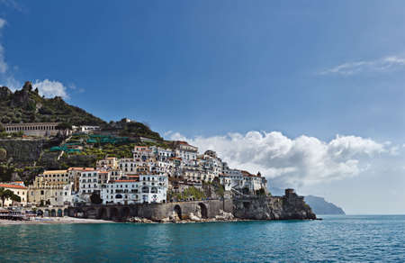 Panoramic view of Amalfi, Costiera Amalfitana, Italy
