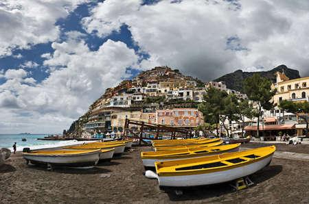 Boats In Positano Marina, Costiera Amalfitana, Italy