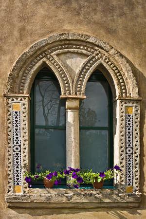 Villa Cimbrone window, Ravello, Italy Stock Photo