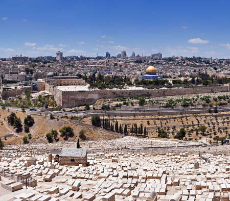 View of Temple Mount and ancient cemetery from Mount of Olives, Jerusalem