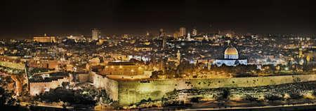 Panorámica vista de noche de Monte del Templo desde el Monte de los Olivos, Jerusalén, Israel Foto de archivo - 3853593