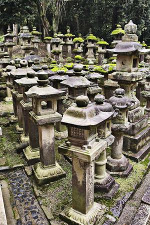 Lanterns in Kasuga, a major Shinto shrine in Nara, Japan Stock Photo