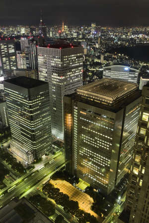 Tokyo skyscrapers at night