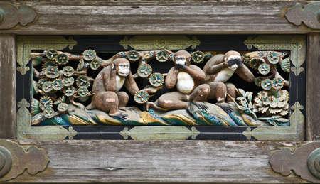 Three Wise Monkeys in Shinto shrine Tosho-gu, Nikko, Japan