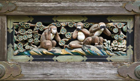 shinto: Three Wise Monkeys in Shinto shrine Tosho-gu, Nikko, Japan