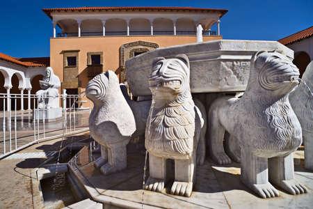 caesarea: The Lions fountain in Ralli museum yard, Caesarea, Israel Stock Photo